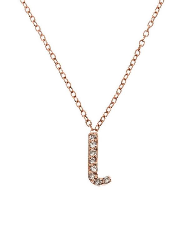 rose gold diamond letter l necklace