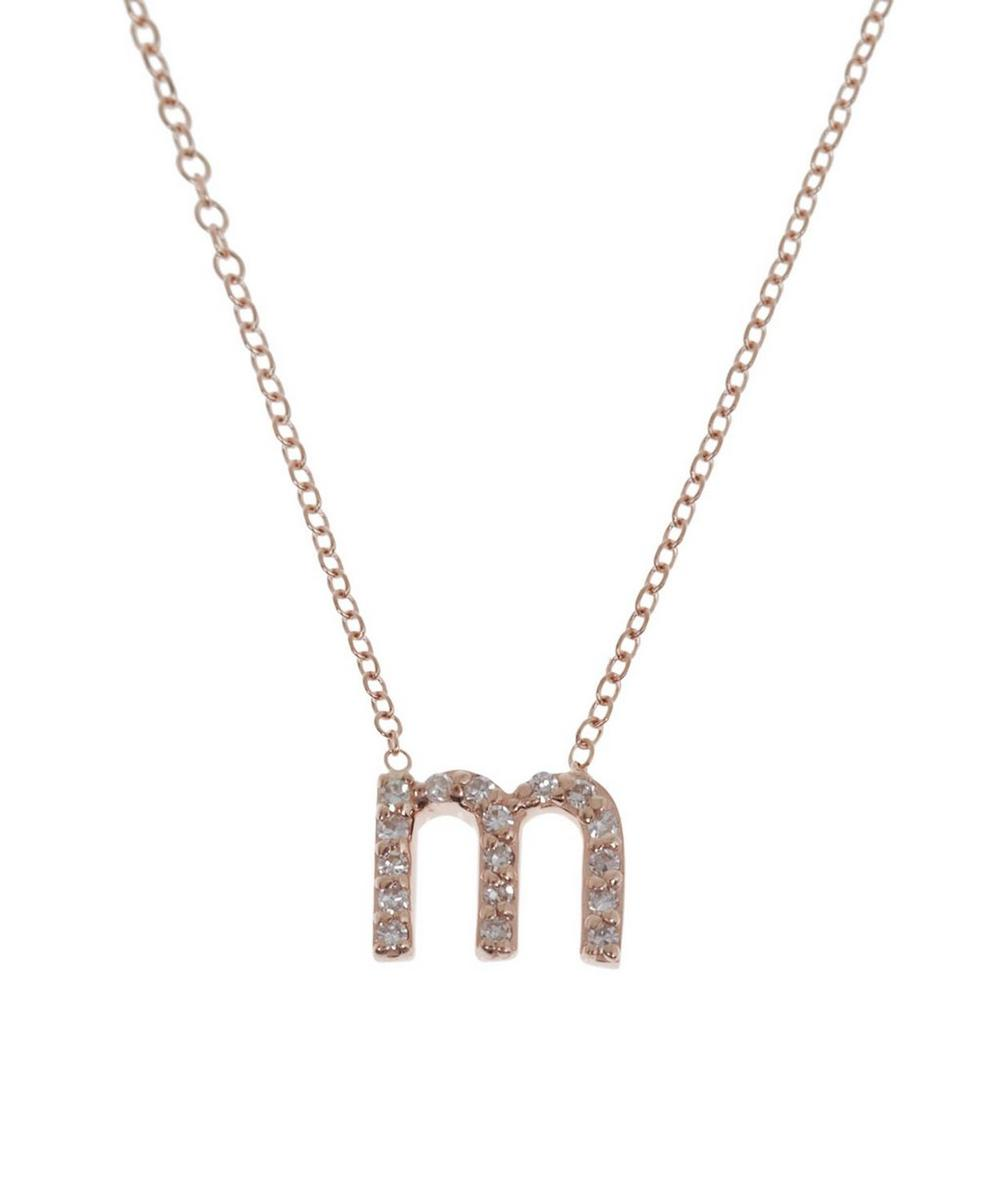 Rose Gold Diamond Letter M Necklace