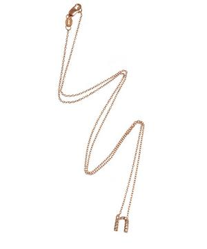 Rose Gold Diamond Letter N Necklace