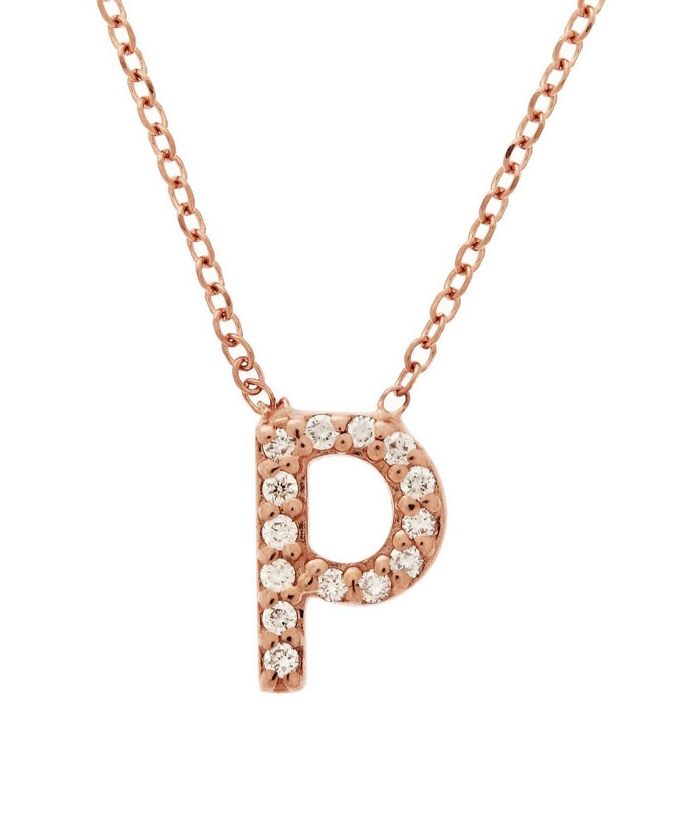 Rose Gold Diamond Letter P Necklace