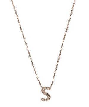 Rose Gold Diamond Letter S Necklace