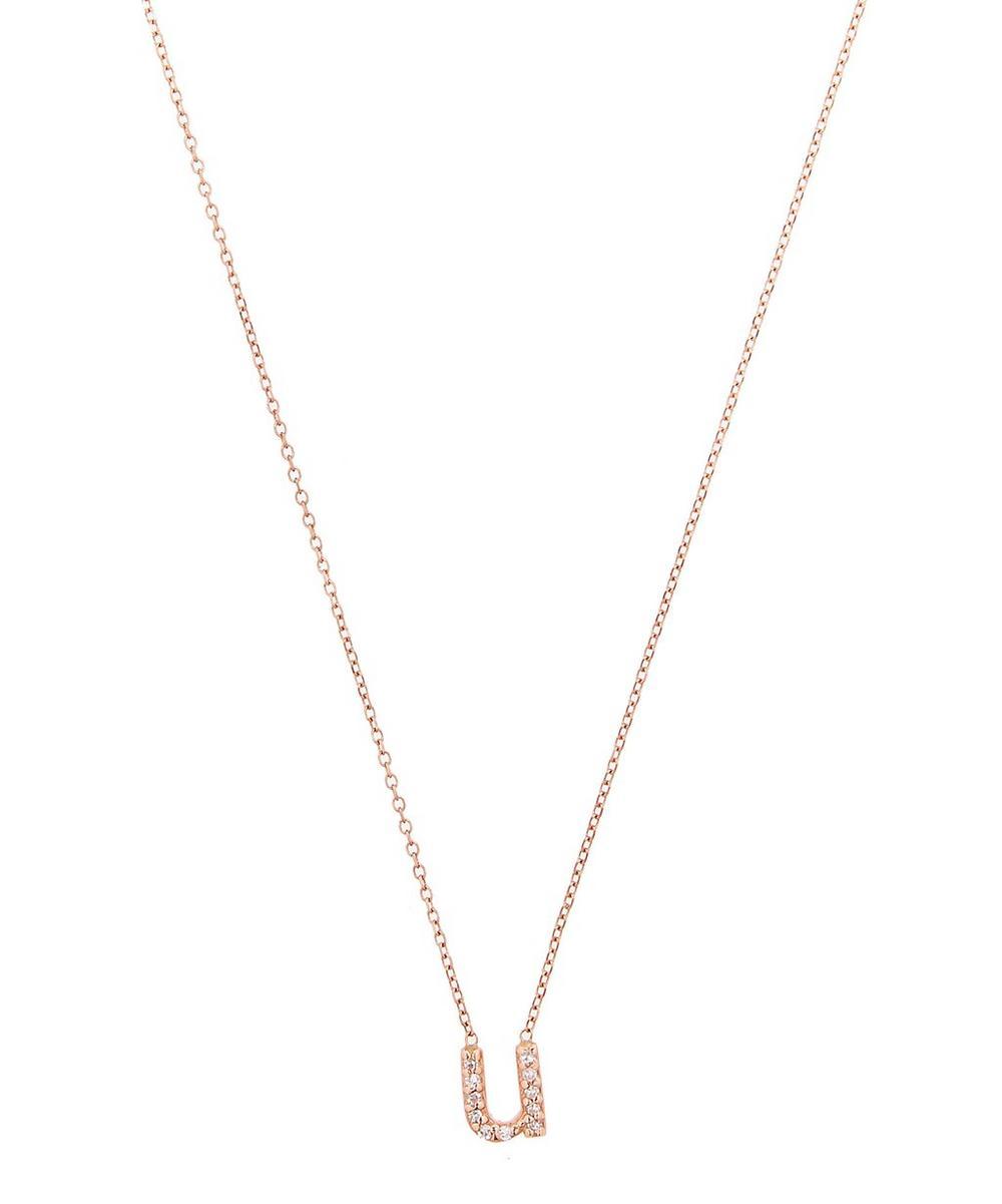 Rose Gold Diamond Letter U Necklace