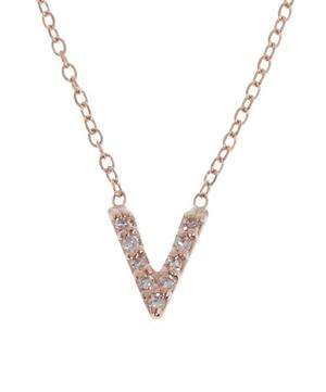 Rose Gold Diamond Letter V Necklace