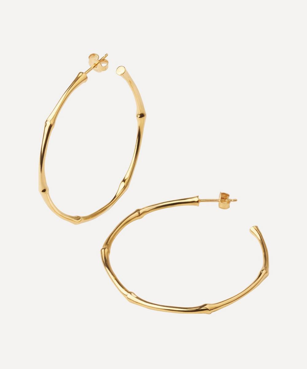 Gold-Plated Vermeil Large Bamboo Hoop Earrings