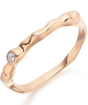 Rose Gold Vermeil Siren White Topaz Band Ring