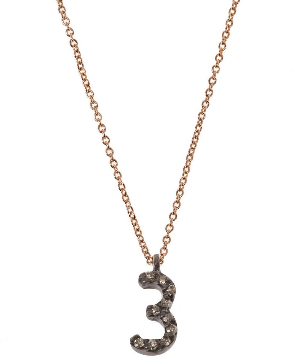 Rose Gold and Diamond Number 3 Necklace
