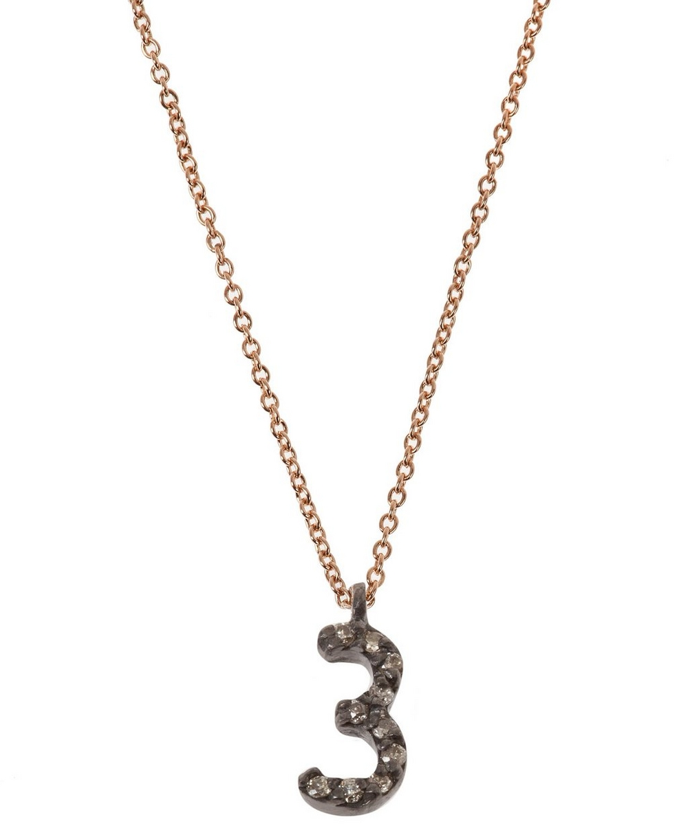 Rose gold and diamond number 3 necklace liberty london rose gold and diamond number 3 necklace mozeypictures Image collections