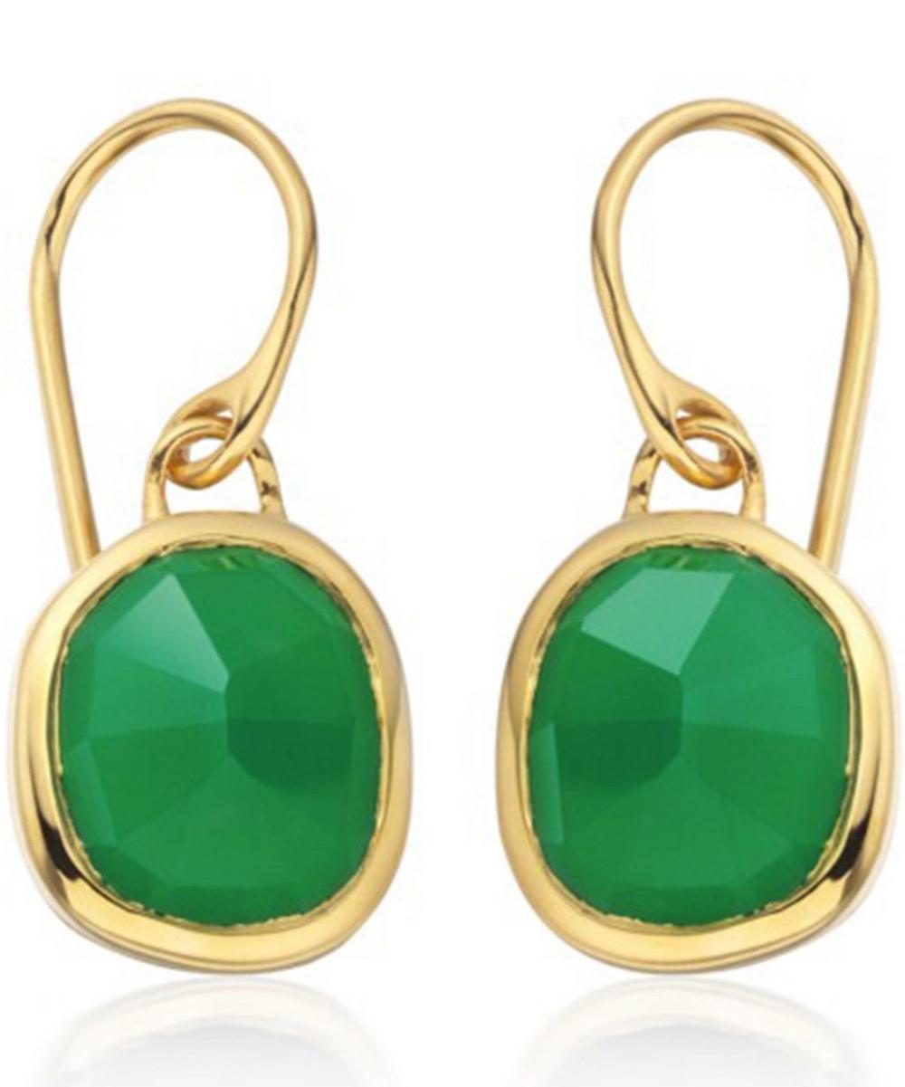 Vermeil Green Onyx Siren Wire Earrings