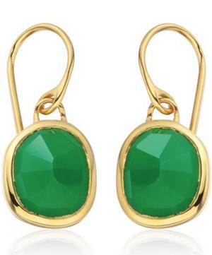 Gold Vermeil Siren Green Onyx Drop Earrings