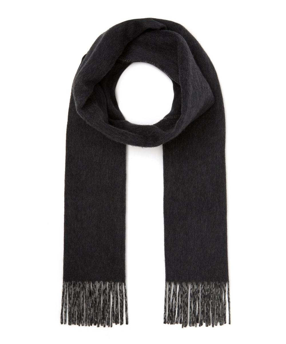 JOHNSTONS OF ELGIN Reverse Check Cashmere Scarf in Grey