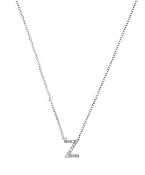 White Gold Diamond Letter Z Necklace