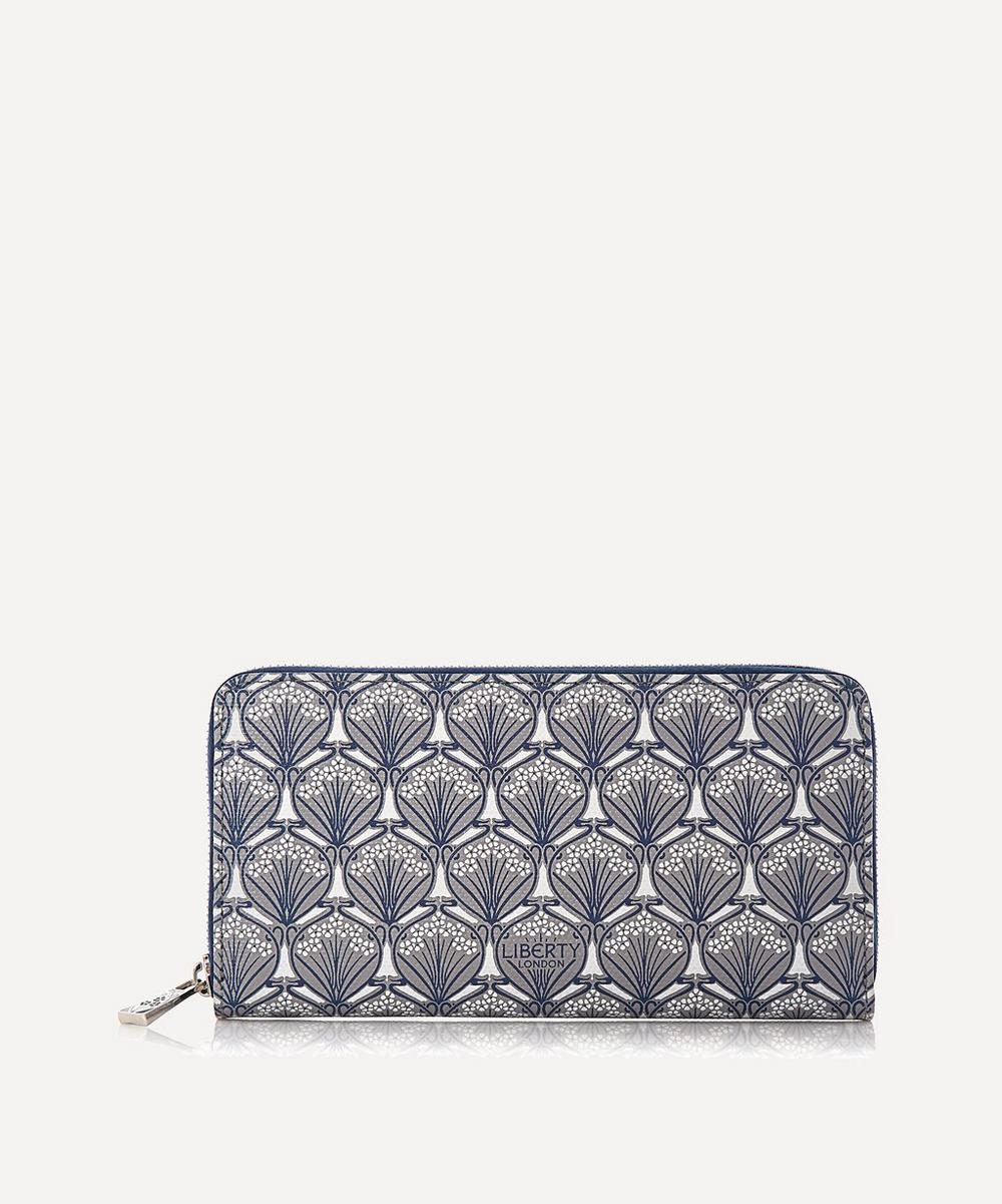 Large Zip-Around Wallet In Iphis Canvas in Grey