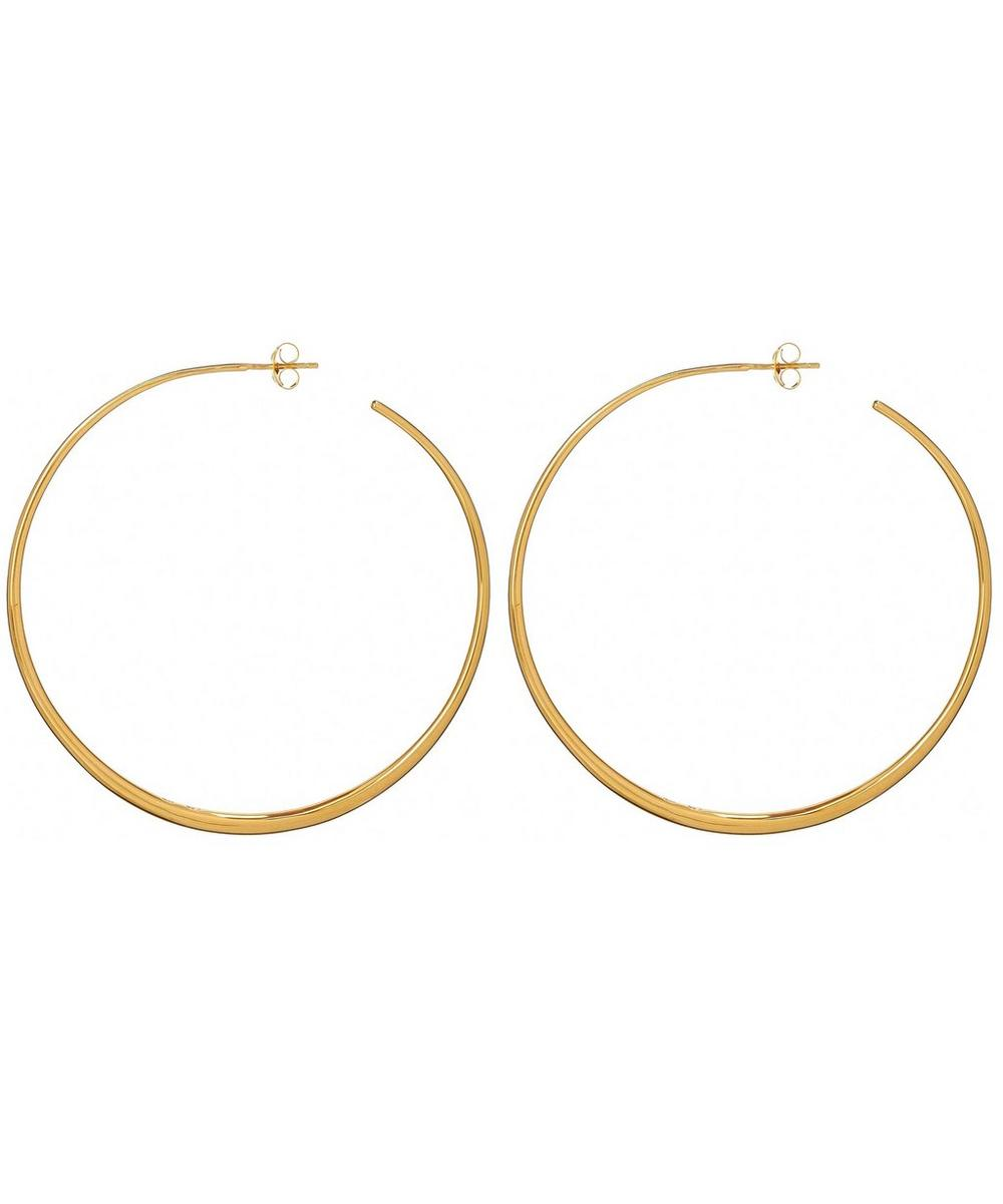 Large Vermeil Signature Tapering Hoop Earrings