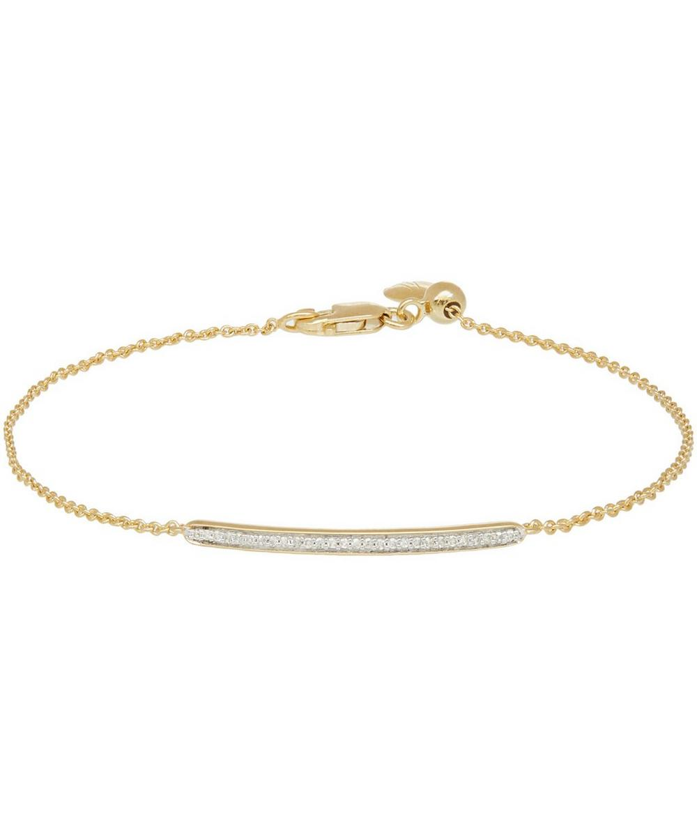 Gold Vermeil Skinny Short Diamond Bar Bracelet