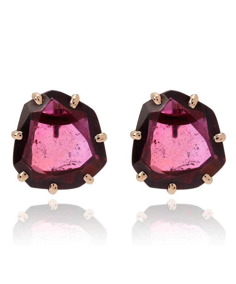 18ct Rose Gold Shard Garnet Stud Earrings