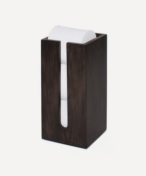 Mezza Freestanding Dark Oak Toilet Roll Holder