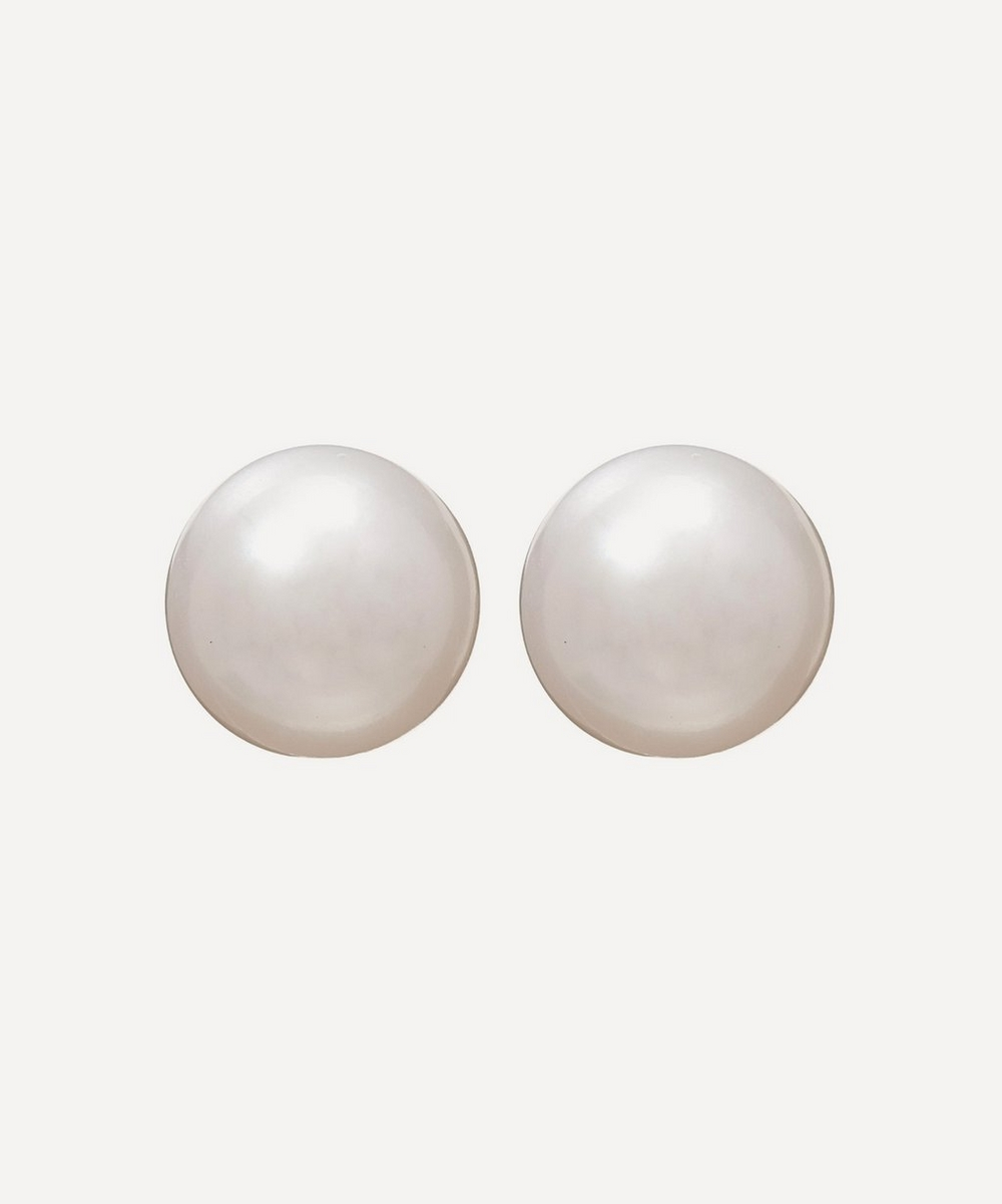 White Gold Pearl Stud Earrings
