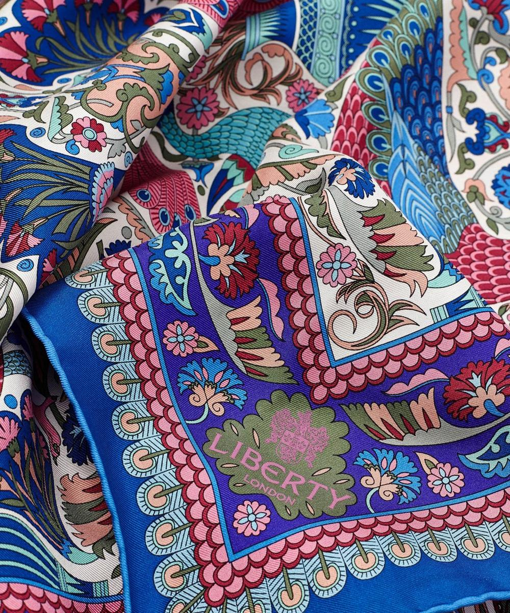 Liberty London Peacock Garden 70 x 70 Silk Twill Scarf