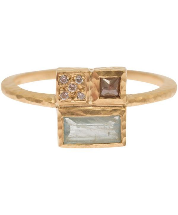 Gold Diamond and Aquamarine Princess Cut Ring