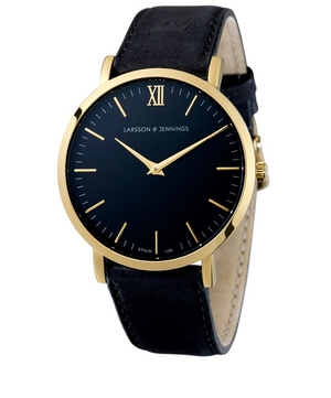 Lugano 40mm Black-Gold Leather Watch