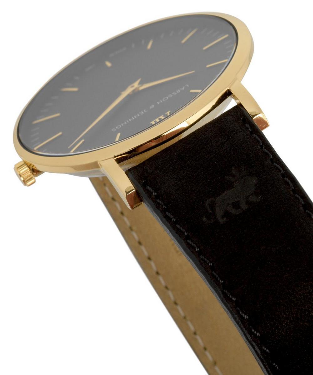 Lugano 40mm Black-Gold Leather Watch