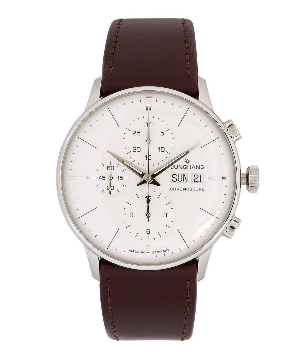 JUNGHANS Meister Chronoscope Leather Strap Watch in Brown
