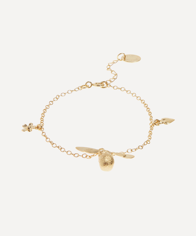 Gold Baby Bumblebee Flower Charm Bracelet