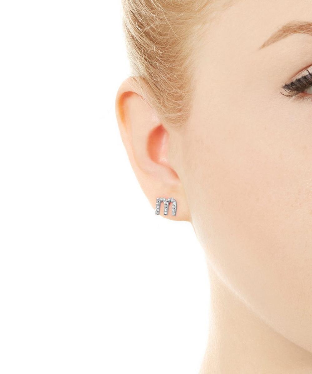Rose Gold Diamond M Single Stud Earring