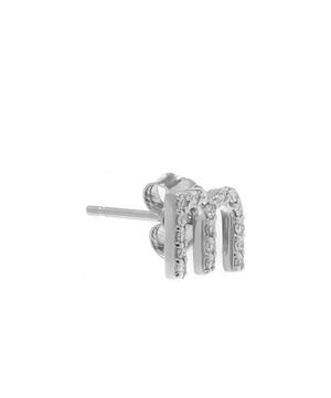 Rose Gold Diamond M Single Stud Earring