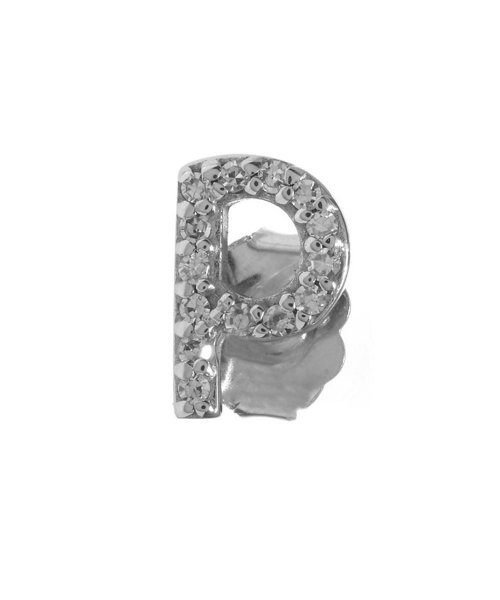 Rose Gold Diamond P Single Stud Earring