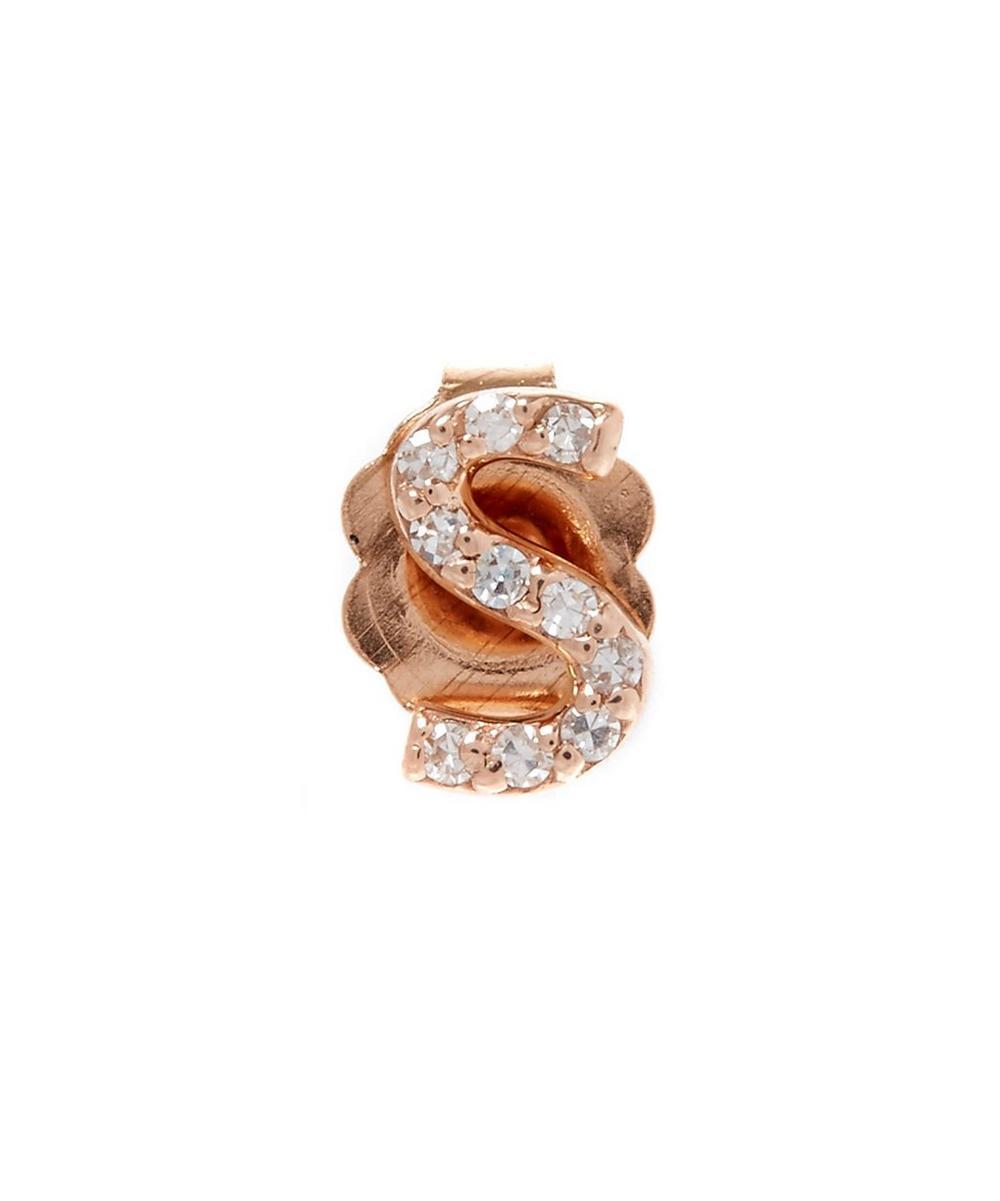 Rose Gold Diamond S Single Stud Earring