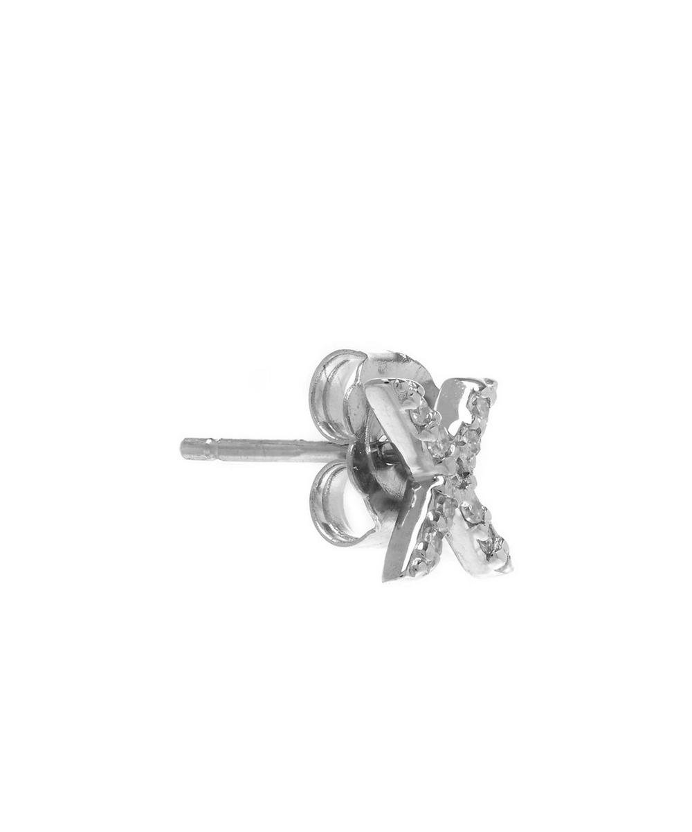 Rose Gold Diamond X Single Stud Earring