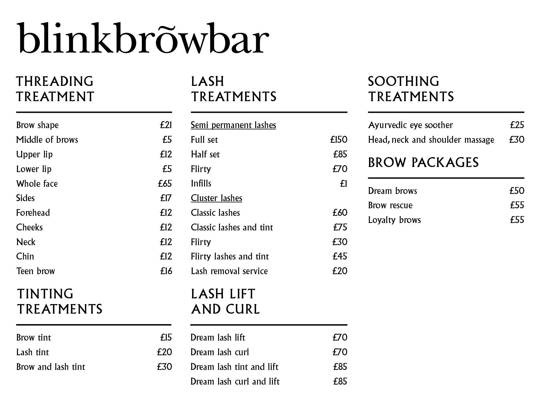 Blinkbrowbar Treatment Menu