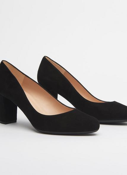 Sersha Black Block Heel Courts