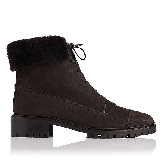 Alaska Chocolate Grained Nubuck Shear Ankle Boots