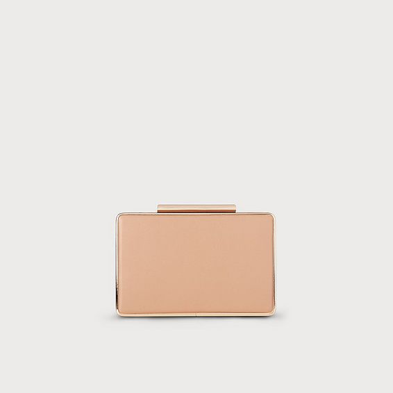 Nina Beige Nappa Leather Clutch