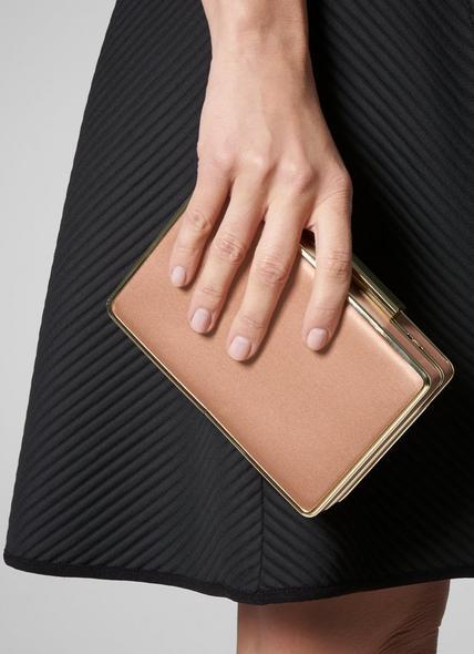 Nina Beige Nappa Leather Clutch