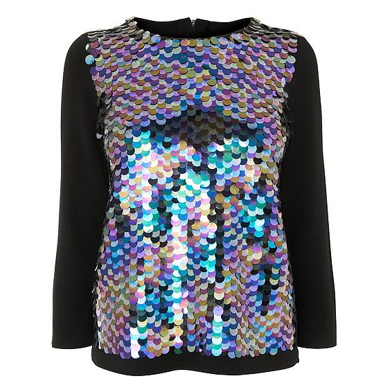 Essa Black Wool Mix Knitted Top
