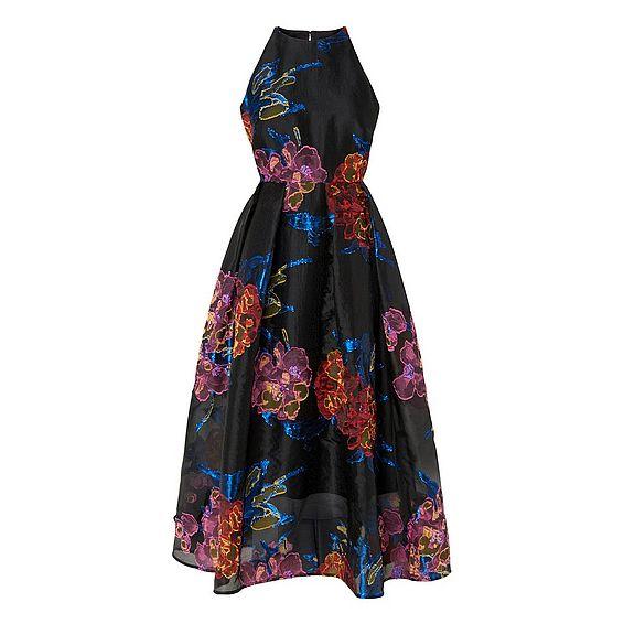 Eva Black Viscose Silk Dress