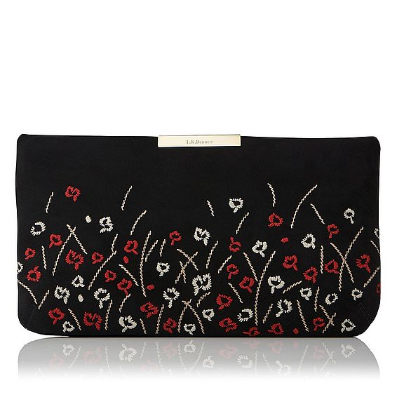 Flora Black Suede Embroidery Clutch