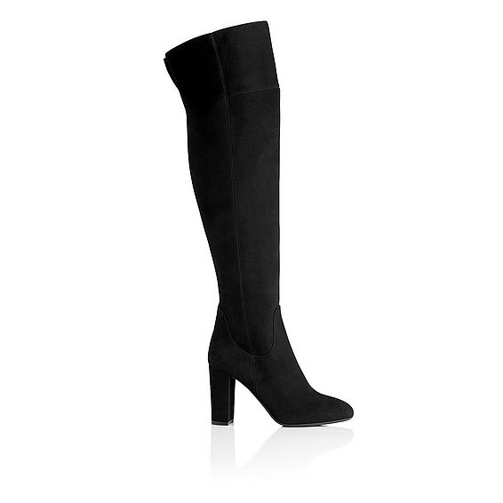 Kaelynn Black Suede Knee Boots