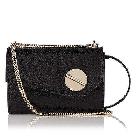 Kay Black Snake Effect Shoulder Bag