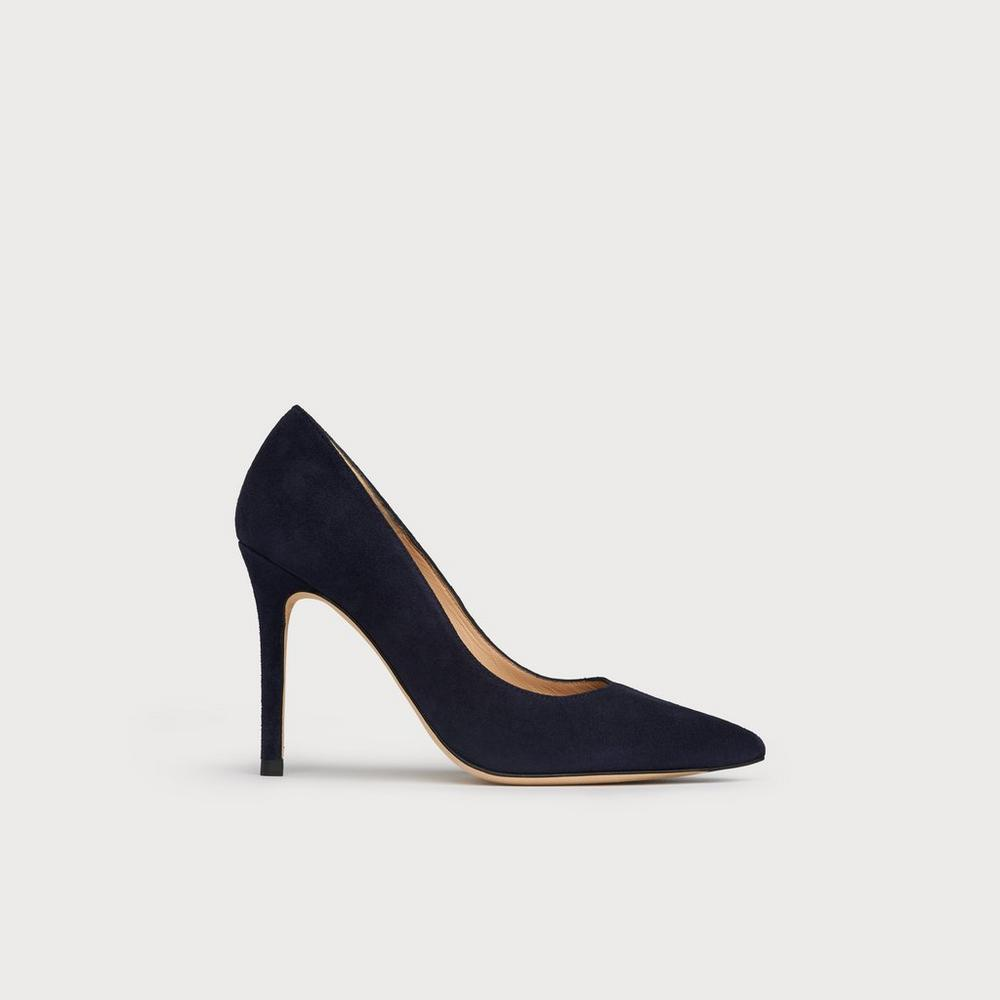 aa281a7a58d Fern Navy Suede Pointed Toe Courts