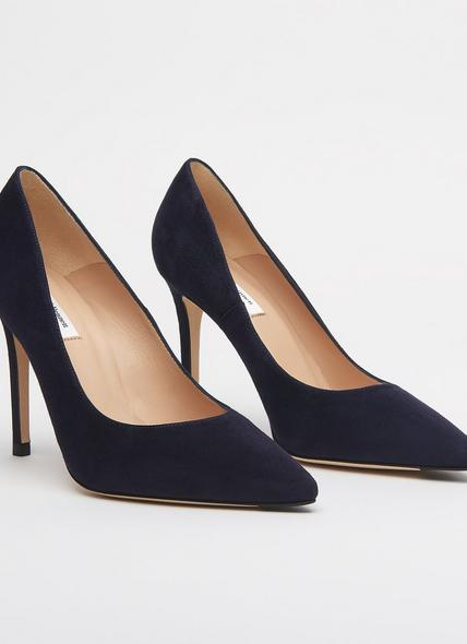 Fern Navy Suede Pointed Toe Courts