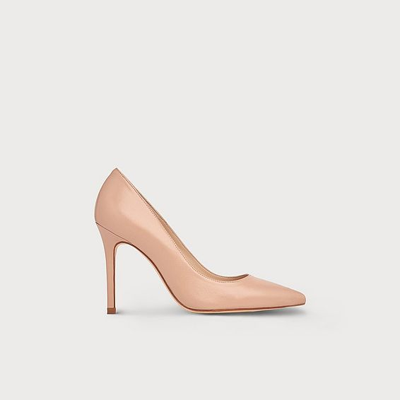 Fern Nude Leather Pointed Toe Courts