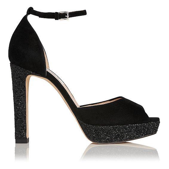 Selina Black Glitter Suede Sandals
