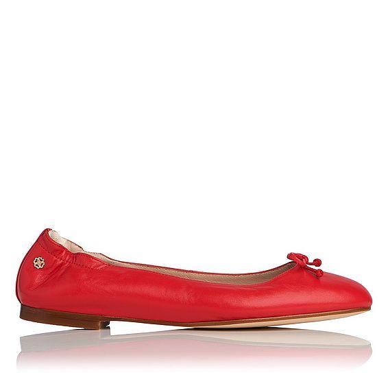 Thea Cherry Soft Nappa Leather Flats