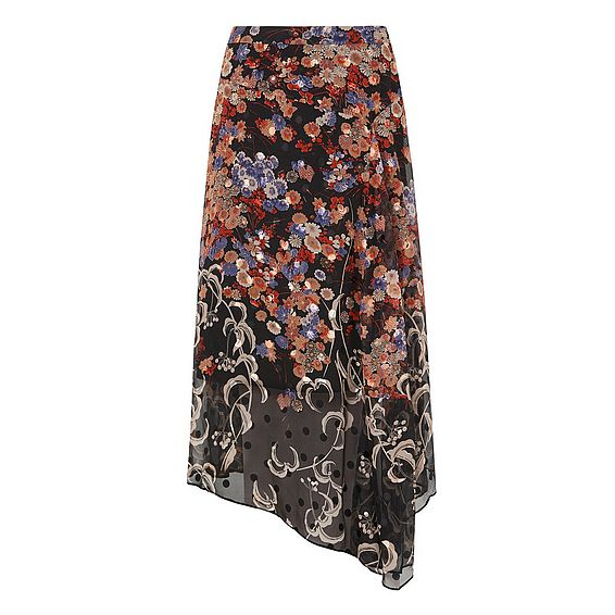 Camille Silk Printed Skirt