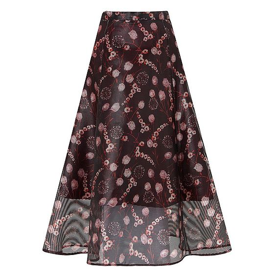 Trudy Black Print Skirt