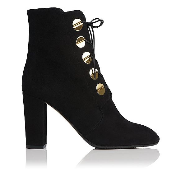 Yolanda Black Suede Ankle Boots